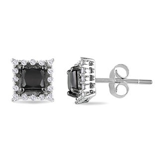Miadora 10k White Gold 1ct TDW Black and White Diamond Earrings