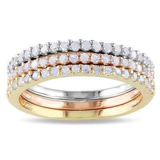 Haylee Jewels Sterling Silver 3-Piece Diamond Eternity Band Set
