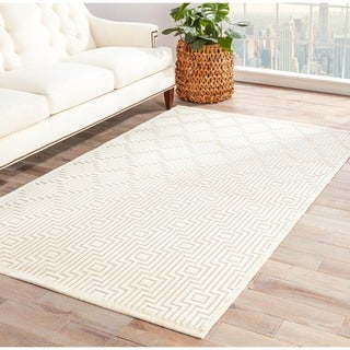 Contemporary Geometric Pattern Ivory Rug (7'6 x 9'6)