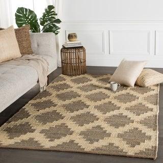 Handmade Flat Weave Moroccan Pattern Brown Rug (5' x 8')