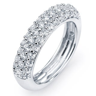Sterling Silver Cubic Zirconia 3-row Engagement-style Ring