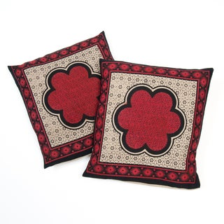 Set of Two Black and Red Cotton Cushion Covers with Printed Flowers (India)