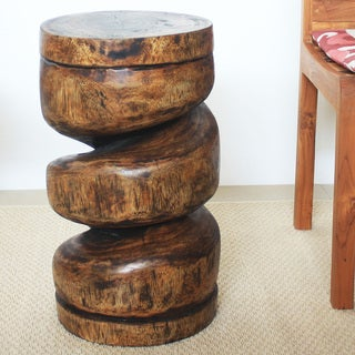 Hand-carved 12 x 22 Mocha Oiled Spiral Column Stool (Thailand)