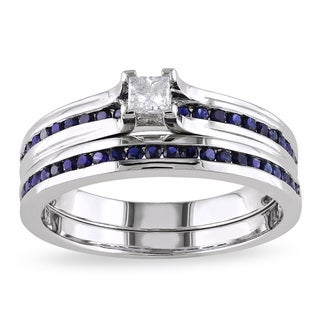 Miadora Sterling Silver 1/6ct TDW Diamond and Sapphire Bridal Ring Set