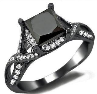 Noori 18k Black Gold 2 2/5ct TDW Certified Black Diamond Princess Cut Ring (VS1-VS2)