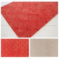 Hand-tufted Allie Beige Geometric Wool Rug (5' x 7'6)