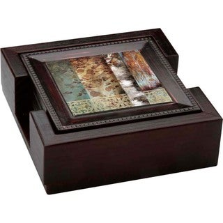 Ambiance Birch Reflections Bronze Drink Coasters and Holder Set