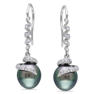 Miadora 14k White Gold Tahitian Pearl and 1/5ct TDW Diamond Earrings (G-H, I1-I2)