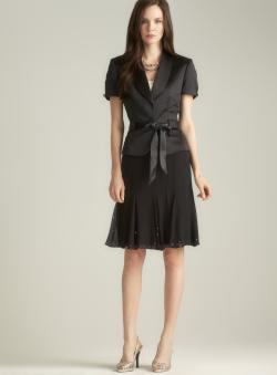 Tahari Satin & Chiffon Sequined Belted Skirt Suit