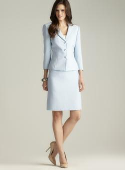 Tahari Textured Three Button Skirt Suit