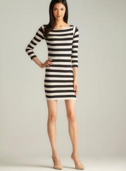 French Connection Wide Stripe 3/4-Sleeve Dress