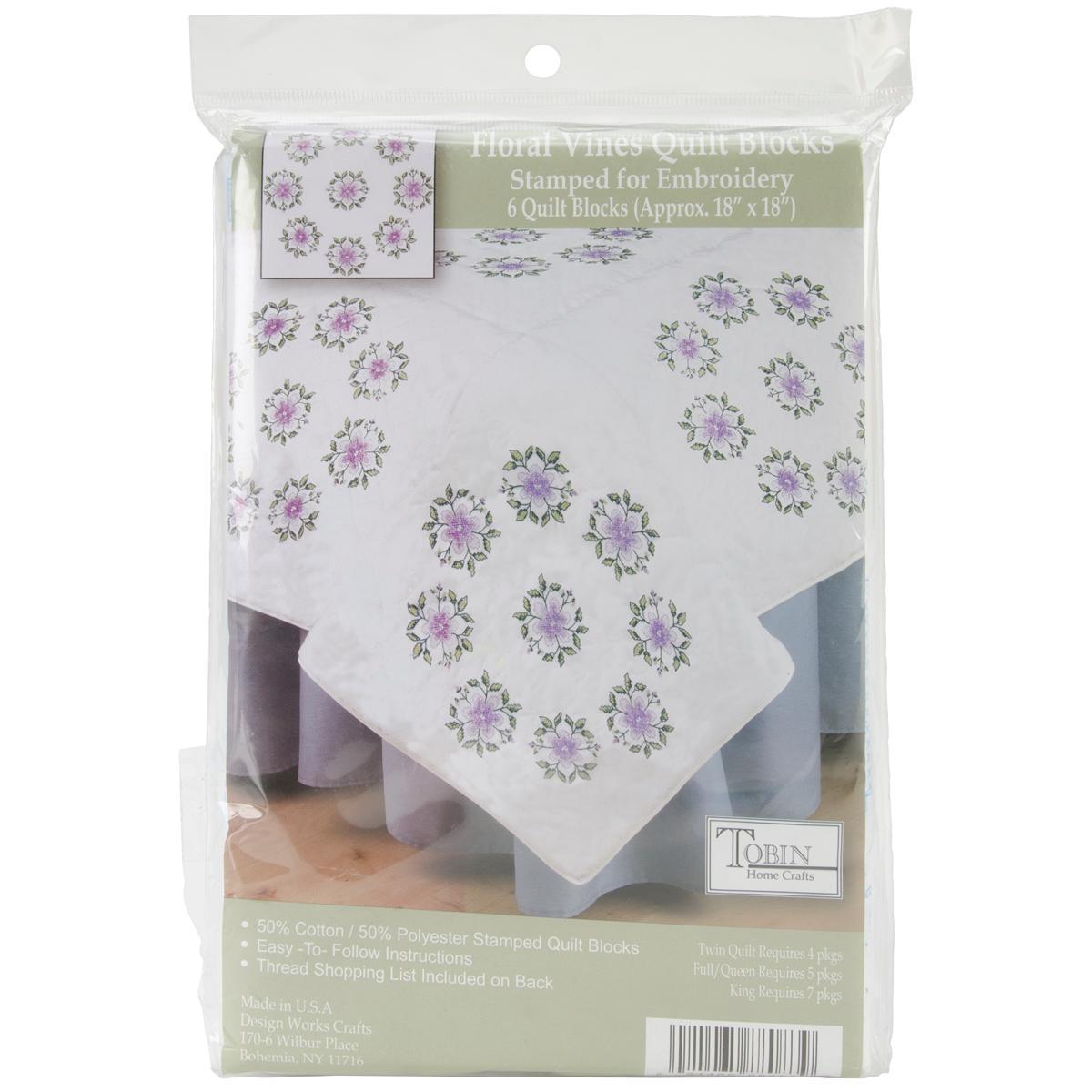 Design Works Stamped White Quilt Blocks 18 X18 6/Pkg - Floral Vine