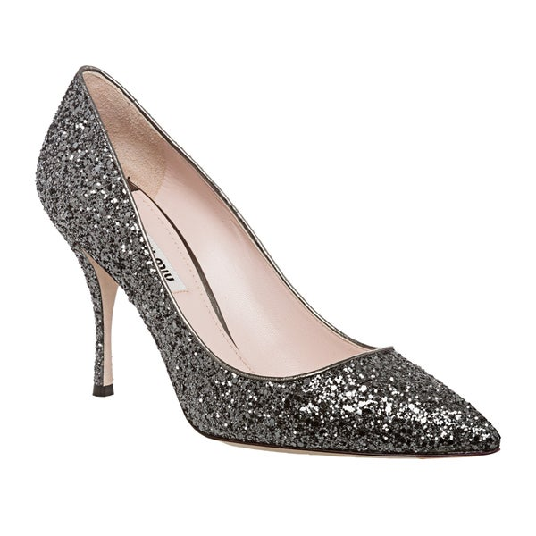 a51f62a167c6 Silver glitter pointed toe pumps