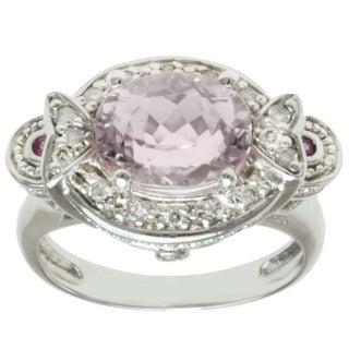 Michael Valitutti 14k White Gold Kunzite, Pink Sapphire and Diamond Ring