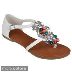 Journee Collection Women's 'Jaxon' Bejeweled T-strap Sandals