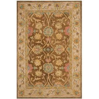 Safavieh Hand-made Anatolia Brown/ Ivory Wool Rug (3' x 5')