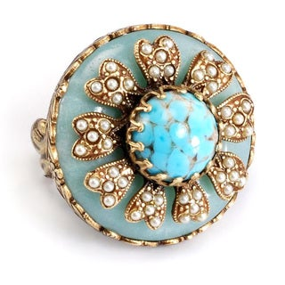 Sweet Romance Turquoise Glass and Seed Pearl Windflower Ring