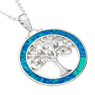 La Preciosa Sterling Silver Blue Opal Tree of Life Pendant