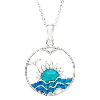 La Preciosa Sterling Silver Created Blue Opal Setting Sun Necklace
