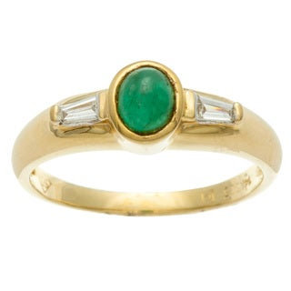 Kabella Luxe Vintage 14k Yellow Gold Emerald and 1/10ct TDW Diamond Ring (H-I, SI1-SI2)