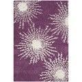 Safavieh Hand-made Soho Burst Purple/ Ivory Wool Rug (2'6 x 4')