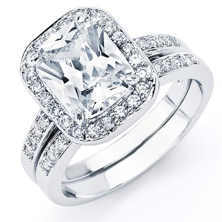 Oliveti Sterling Silver Radiant-cut Cubic Zirconia Bridal-style Ring Set
