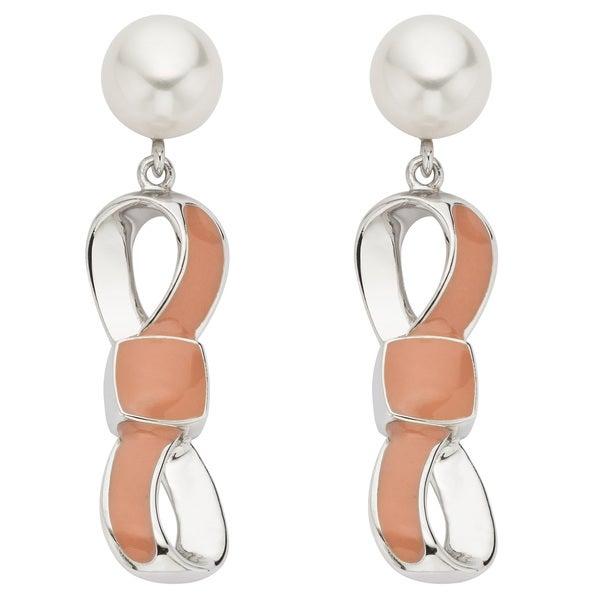 Pearlyta Sterling Silver FW Pearl and Enamel Bow Dangle Earrings (7-8 mm)