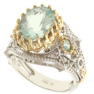 Michael Valitutti 14k Gold Amblygonite, Tourmaline and Diamond Ring