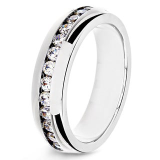 Stainless Steel Clear Cubic Zirconia Eternity Band