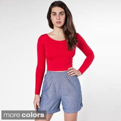 American Apparel Women's Chambray Woven Cuff Shorts