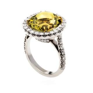 18k Gold Yellow-Green Tourmaline and 1 1/6ct TDW Diamond Ring (G-H, VS1-VS2)
