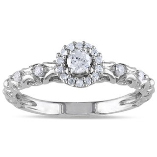 Haylee Jewels Sterling Silver 1/4ct TDW Halo Diamond Ring (H-I, I2-I3)