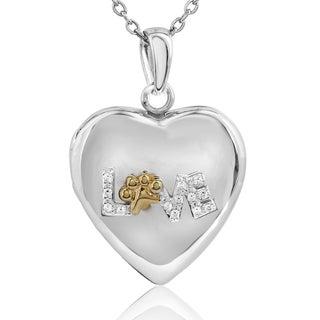 ASPCA Tender Voices Silver Diamond Accent Love Paw Locket (I-J, I2-I3)