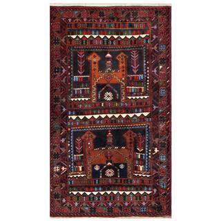 Afghan Hand-knotted Tribal Balouchi Brown/ Black Wool Rug (3'6 x 6'2)