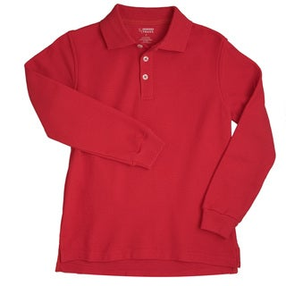 French Toast Children's 4-20 Long Sleeve Pique Red Polo Shirt