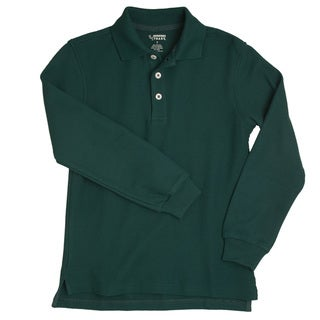 French Toast Children's Long Sleeve Pique Green Polo Shirt