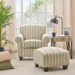 Portfolio Mira Summer Aqua Blue Stripe Arm Chair and Ottoman
