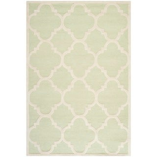 Safavieh Handmade Moroccan Cambridge Light Green/ Ivory Wool Rug (9' x 12')