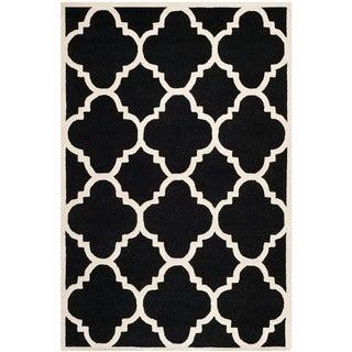 Safavieh Handmade Moroccan Cambridge Black/ Ivory Wool Rug (9' x 12')
