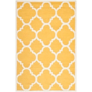 Safavieh Handmade Moroccan Cambridge Canvas-backed Gold/ Ivory Wool Area Rug (9' x 12')