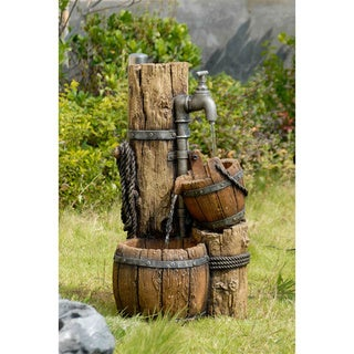 Wood Cask Distressed Water Fountain