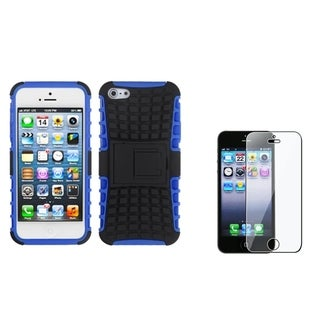 INSTEN Dark Blue/ Black Phone Case Cover/ Screen Protector for Apple iPhone 5