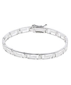 Mondevio Sterling Silver Greek Key Link Bracelet
