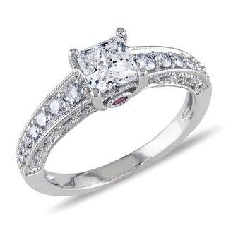 L'Amour Enrose by Miadora 14k White Gold 1ct TDW Princess Diamond Ring (I2-I3, G-H)