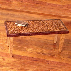 Cedar and Leather 'Colonial Marigold' Coffee Table (Peru)