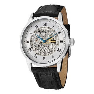 Stuhrling Original Men's Magnifique Automatic Skeleton Leather Strap Watch - Black/Silver