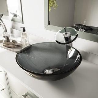 VIGO Sheer Black Glass Vessel Sink and Waterfall Faucet Set in Chrome