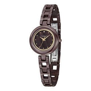 Stuhrling Original Women's Le Petit Swiss Quartz Swarovski Crystal Brown Ceramic Bracelet Watch