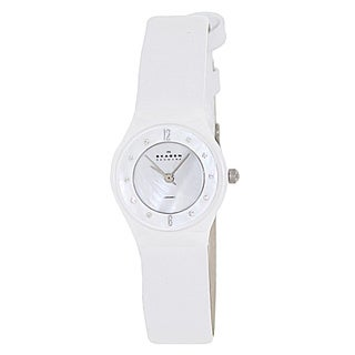 Skagen Women's 233XSCLW White Leather Quartz Watch with White Dial