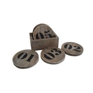 Distressed Wood Numbered Coaster Set (China)